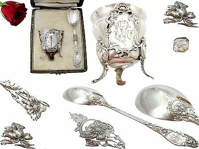 French Sterling Silver & Vermeil Egg Cup and spoon w/box  ART NOUVEAU 1897