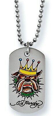 10 x Ed Hardy Stainless Steel Bulldog King, Dog Tag Necklaces, JOB LOT x 10