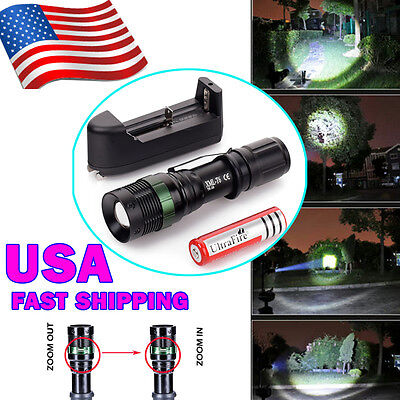 2000 Lumen CREE XML T6 LED Flashlight Rechargeable 18650 Battery And Charger