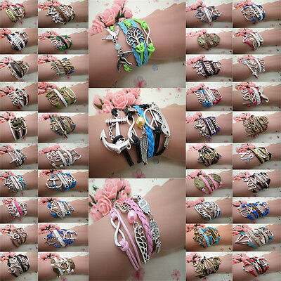 NEW Wholesale fast shipping Charm Infinity Leather Cute Bracelet many style PICK