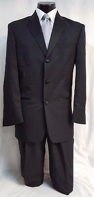38 S Mens Black Checkered Tuxedo Package w/ Pants Vest & Tie Wedding Formal Gala