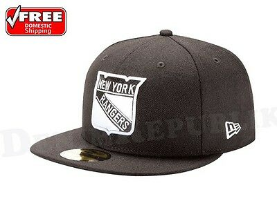 New Era 5950 NEW YORK RANGERS Black White Fitted NHL Hat Hockey League Cap