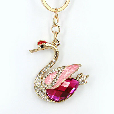 Goose Swan Duck Crown Pendent Charm Chain Rhinestone Crystal Purse Bag Key Ring