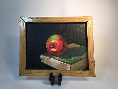 Vintage Still Life Painting Apple on a Book Black Background Nice Wood Frame