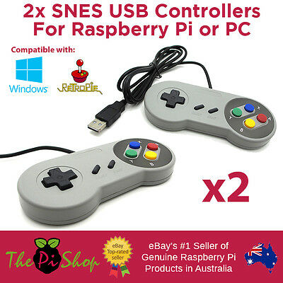 2x Super Nintendo SNES USB Controllers for PC or Raspberry Pi - Australian Stock