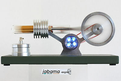 Stirling Motor Heißluft  Stirling Engine Modell a200 treibt 4 LED´s an