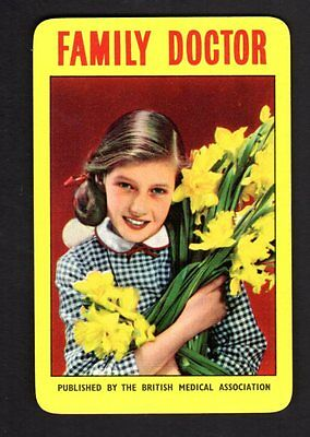Vintage Swap/Playing Card -  Pretty Girl with Daffodils - Advertisement