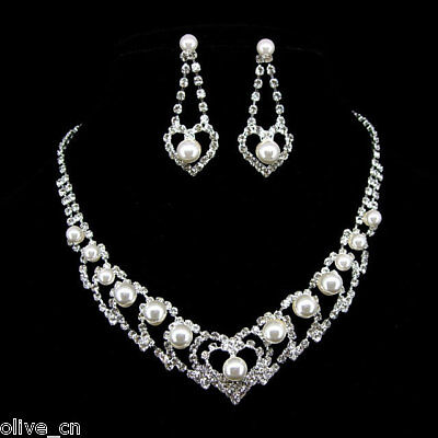 Twinkling White Heart Pearl Wedding Prom Crystal Necklace Clip on Earrings Set