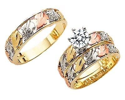 10k Tricolor Gold His & Her Men Women Trio Wedding Ring Band Set Size 5-13