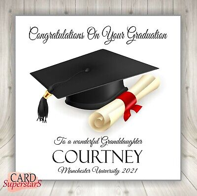 """Personalised Graduation Congratulations Card - *2 card sizes 6"""" or 8"""" sq*"""