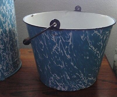 Vintage French Enameled Bucket with Handle  ~ Rare Blue on White Swirl Pattern