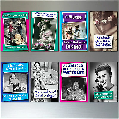 Set 0f 8 Inspirational humorous funny Quotes  Vintage Fridge Magnets No.2