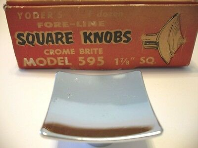 VTG Yoder's NOS CHROME Drawer Knobs Square Concave Dished Cabinet Door Handles