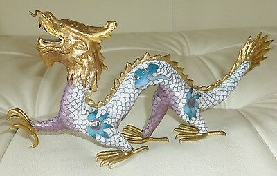 Vintage Handwork Cloisonne Enamel and Bronze Gild Dragon Figurine