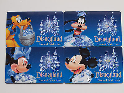 4 Different DISNEYLAND 60th Anniversary Passport Gift Cards 2015 Mint on Cards