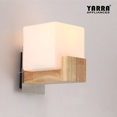 Cube Wall Light White Sconces Timber Indoor Fixtures Bedside Lights