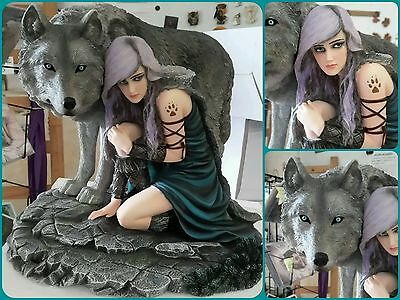 Elfen Fees Fata Fatina Fairy Anne Stokes Collection Protector Con Lupo Wolf