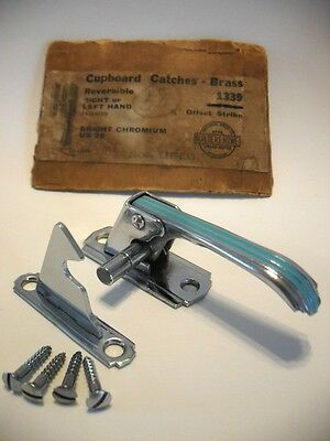 "Vtg NOS CHROME Cabinet door Latch catch handle TURQUOISE Reversible 3/8"" Offset"