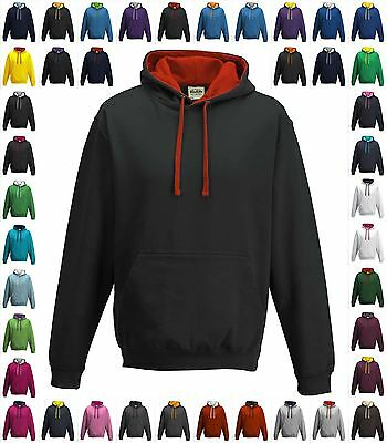 Mens Hoodie Contrast Varsity Hooded Sweatshirt Two Tone Fashion Top Pullover New