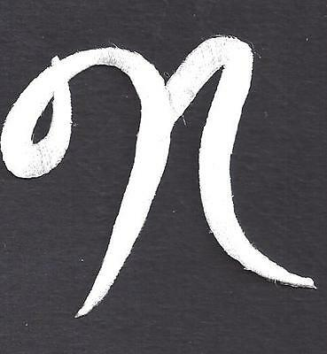 """SCRIPT LETTERS - White  Script Letter """"N"""" - Iron On Embroidered Applique"""