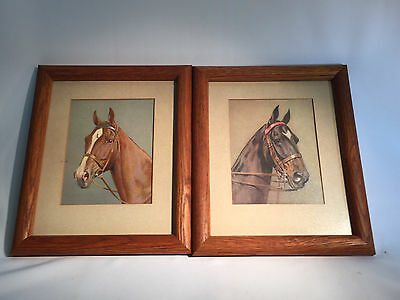 Vintage Pair of Horse Prints by Rirst Slight Tear Brown Horse Very Nice Framed