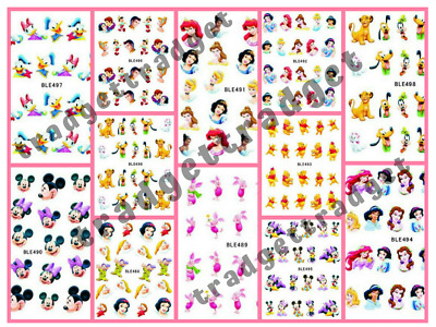 Disney Princess Mickey Minnie Nail Art Sticker Decal Manicure Water Transfer