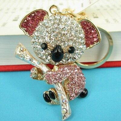 Koala Pink Bear Tree Charm Cute Pendent Crystal Purse Bag Key Ring Kechain Gift