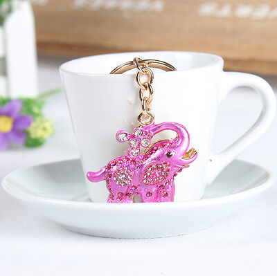 Elephant Flower Creative Rhinestone Crystal Pendent Charm Key Chain Ring Gift