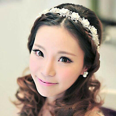 Bridal Wedding Prom Crystal Beaded Clay Flower Headband Hair Band Tiara Crown