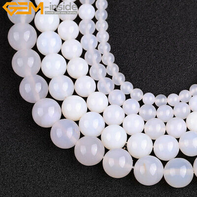 Natural Gemstone Genuine White Agate Stone Beads Strand For Jewelry Making 15""