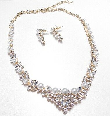 Bridal Wedding Necklace Earring Swarovski Crystal Ivory Pearl Gold Plated Set