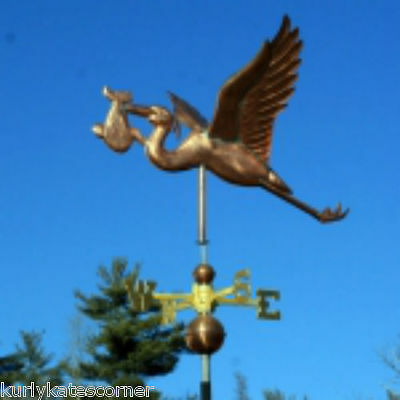 Stork W/baby Weathervane W/copper Balls & Brass Directionals Made In Usa #262-2