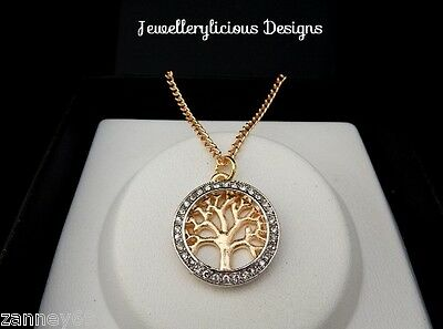 Beautiful Champagne Gold Rhinestone Tree Of Life Pendant On Gold Chain Necklace