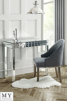 Mirrored Dressing Table Console, Bubble Effect, Single Drawer -DEMETER