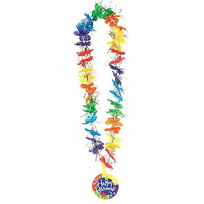 """36"""" Tropical Party Happy Retirement Tinsel Flower Lei Medallion Neck Garland"""