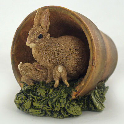 Rabbits In Pot Sculpture Animal Figurine Gift NEW Wildlife Hand Painted 04004