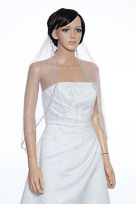 1 Layer Bridal White / Ivory Elbow Pearls Sequin Silver Beaded Wedding Veil