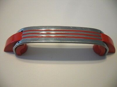 Vtg CHROME DRAWER Door Pulls Handles RED Lines Stripes Plastic Trim Art Deco