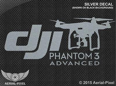DJI Phantom 3 Advanced Silver Window / Case Decal Sticker (Not Inspire, Vision)