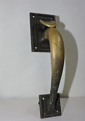 "Antique Large 8"" Brass Art Deco Architectural Decor Hardware Pull Handle Door"