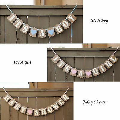 It's a Girl/Boy Baby Shower Banner Bunting Garland Rustic Chic Party Decoration