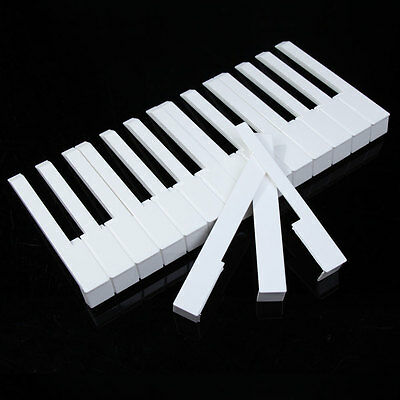 P4PM 52Pcs White ABS Plastic Piano Keytops Kit with Fronts Replacement Key Tops