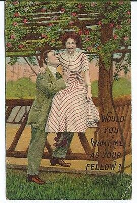 VINTAGE Postcard STAMPED Cleveland OH 1913 Would You Want Me As Your Fellow