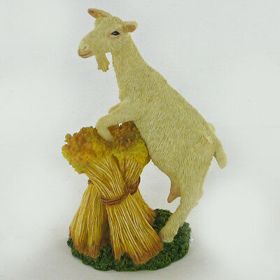 Goat On Hay Stack Sculpture Animal Figurine Gift NEW Wildlife Hand Painted 04020