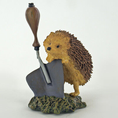Hedgehogs And Trowel Animal Figurine Farm Garden Gift NEW Hand Painted 04036