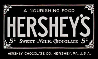 VINTAGE HERSHEY CANDY BAR -  PROFESSIONALLY PRINTED & Die Cut  DECAL For Vending