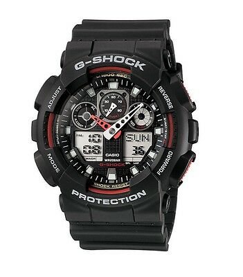 Casio G-Shock GA100-1A4CR Classic Series Men's Black Red Resin Ana-Digi Watch