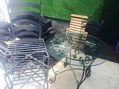 Cast Iron Glass Table and Chairs