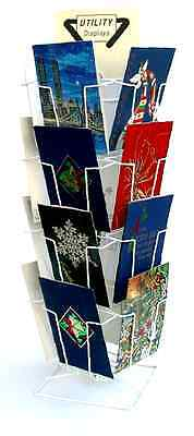 16 Pocket Wire Counter Spinner Greeting Card 6 x 9 Display in White