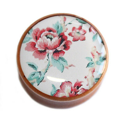 Pastel Red, Green And Beige Floral Print Wooden Saddle Flesh Ear Plug Tunnels